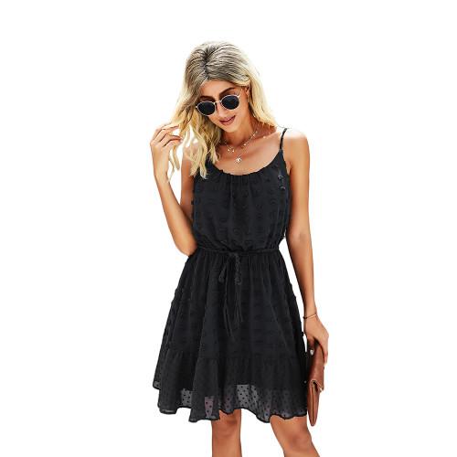 Black Swiss Dot Spaghetti Straps Mini Dress TQK310543-2