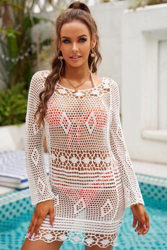 White Crochet Fishnet Backless Beachwear LC42956-1