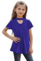 Blue Keyhole Girl's Short Sleeves Top TZ25230-5