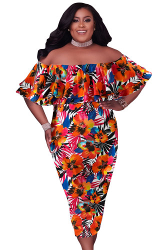 Orange Off Shoulder Floral Plus Size Midi Dress LC613998-14