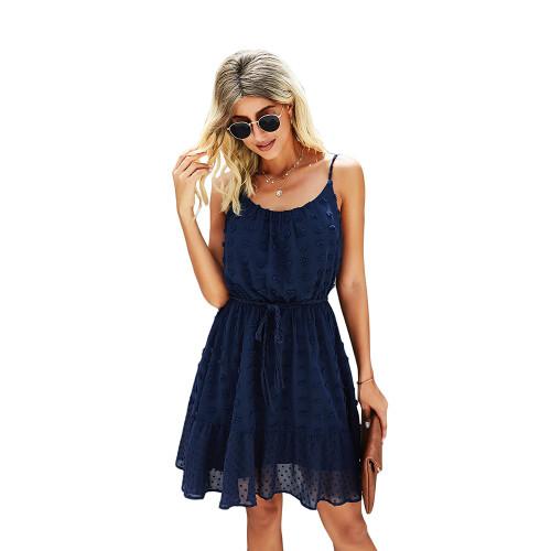 Navy Blue Swiss Dot Spaghetti Straps Mini Dress TQK310543-34