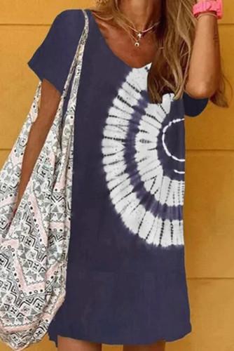 Blue Halter Neck Tie Dye Mini Dress LC224785-5