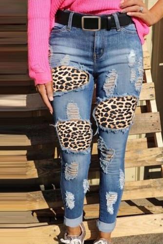 Leopard Print Stitching Ripped Skinny Jeans LC781798-4