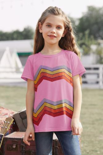 Pink Colorblock Striped Girls' T-shirt TZ25175-10