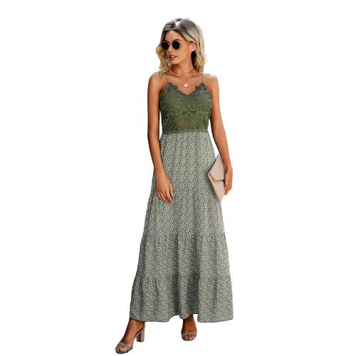 Light Green Lace Top Splice Floral Print Maxi Dress TQK310546-28