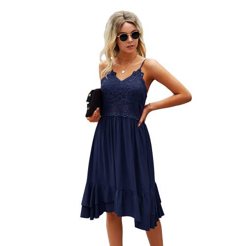 Navy Blue Splice Lace Ruffle Hem Mini Dress TQK310544-34