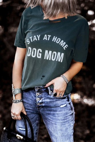 Gray DOG MOM Print Distressed Tee LC2522481-1011