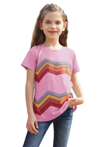 Pink Colorblock Striped Girls' T-shirt TZ25175-10