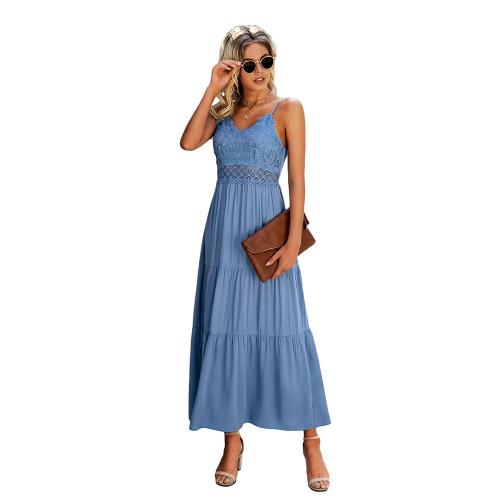 Light Blue Splice Lace Sling Maxi Dress TQK310545-30