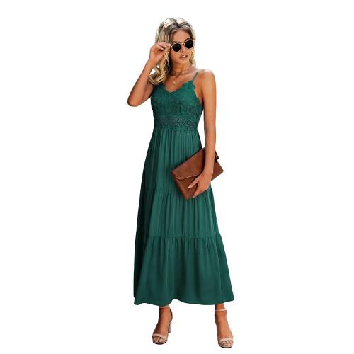 Green Splice Lace Sling Maxi Dress TQK310545-9