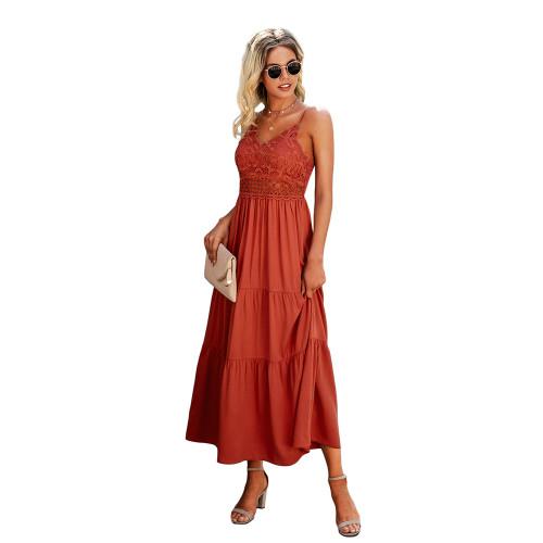 Rust Red Splice Lace Sling Maxi Dress TQK310545-33