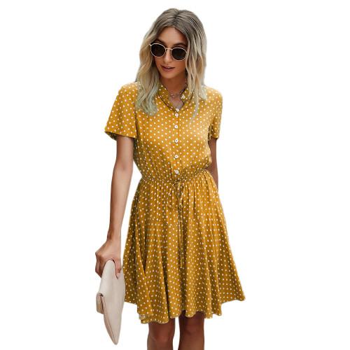 Yellow Tie Waist Button-up Polka Dot Print Dress TQK310548-7