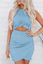 Sky Blue Twist Knot Front Cutout Bodycon Dress LC221297-4