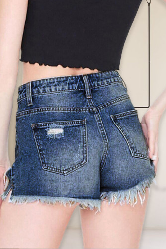 Dark Blue Lace Patches Ripped Denim Shorts LC781945-5