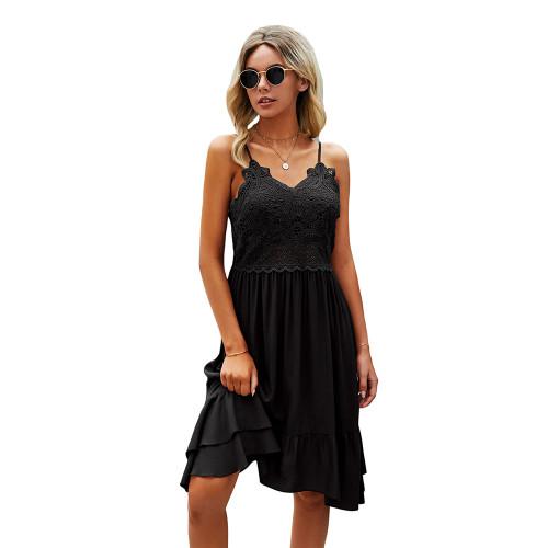 Black Splice Lace Ruffle Hem Mini Dress TQK310544-2