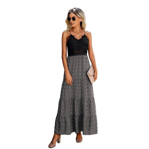 Black Lace Top Splice Floral Print Maxi Dress TQK310546-2