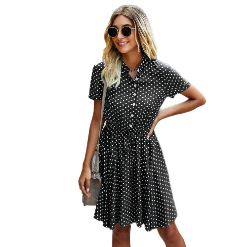 Black Tie Waist Button-up Polka Dot Print Dress TQK310548-2