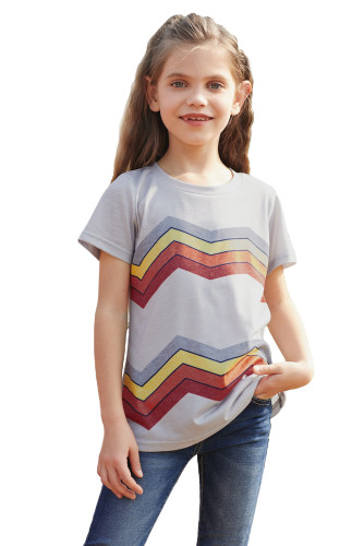 Gray Colorblock Striped Girls' T-shirt TZ25175-11