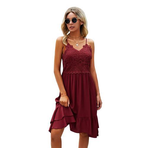 Wine Red Splice Lace Ruffle Hem Mini Dress TQK310544-23