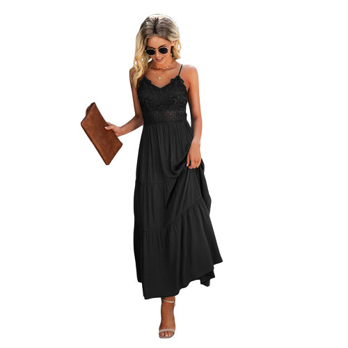 Black Splice Lace Sling Maxi Dress TQK310545-2