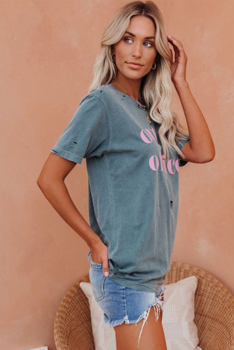 Pink Letter Print Distressed Tee LC2522481-10