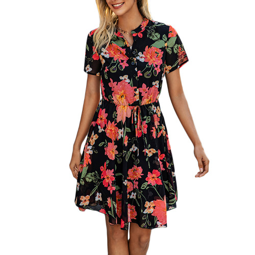 Red Button Up Short Sleeve Floral Dress TQK310547-3