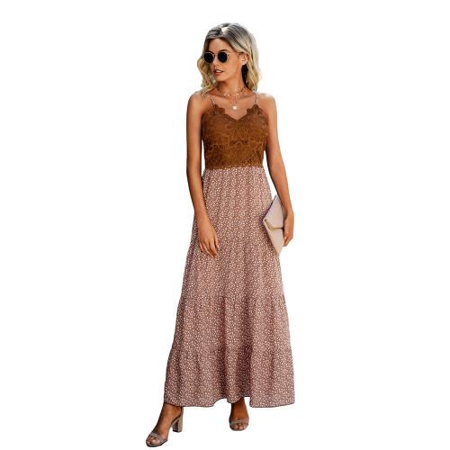 Pink Lace Top Splice Floral Print Maxi Dress TQK310546-10