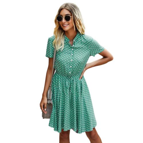 Green Tie Waist Button-up Polka Dot Print Dress TQK310548-9