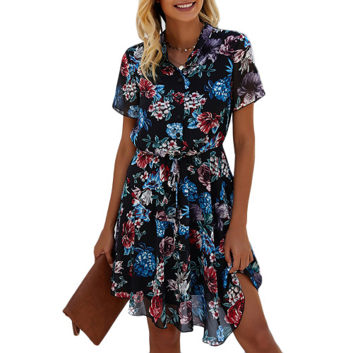 Blue Button Up Short Sleeve Floral Dress TQK310547-5