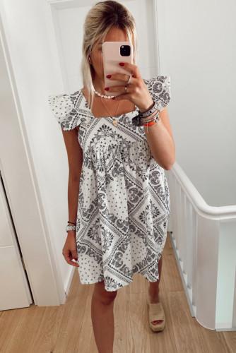 Square Neck Flutter Sleeve Bohemian Print Mini Dress LC224085-1