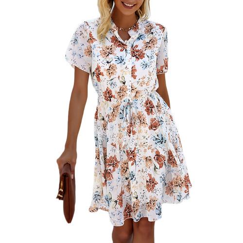 Apricot Button Up Short Sleeve Floral Dress TQK310547-18