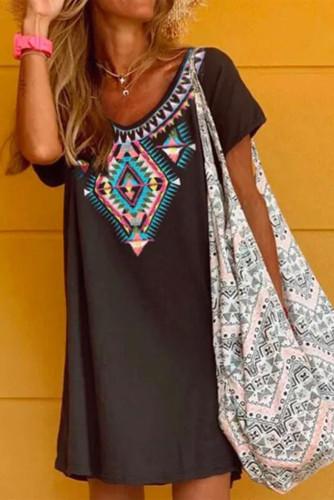 Boho Ethnic Print Short Sleeve Mini Dress LC224660-2