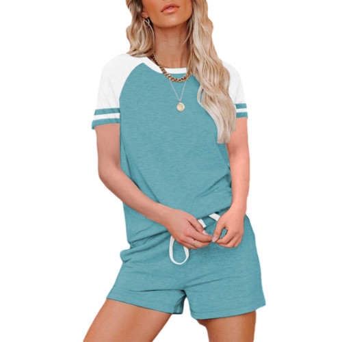 Aquamarine Raglan Sleeve Top with Shorts Lounge Set TQK710323-45