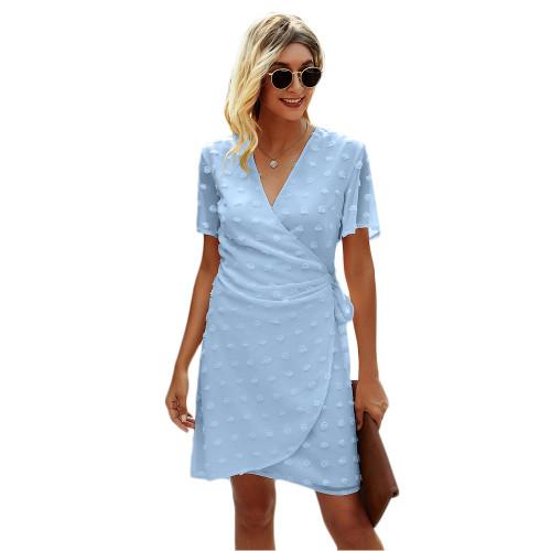 Light Blue Swiss Dot Front Wrap V Neck Mini Dress TQK310549-30