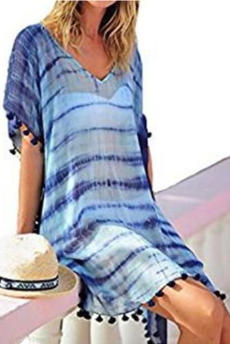 Blue V Neck Tie-dye Tasseled Beachwear LC42862-5