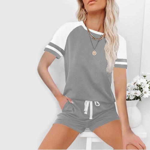 Gray Raglan Sleeve Top with Shorts Lounge Set TQK710323-11