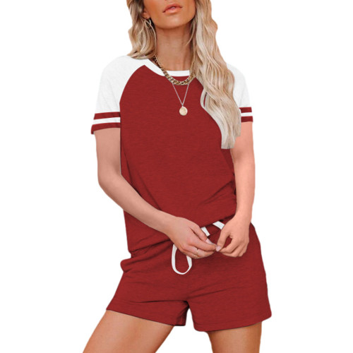Wine Red Raglan Sleeve Top with Shorts Lounge Set TQK710323-11