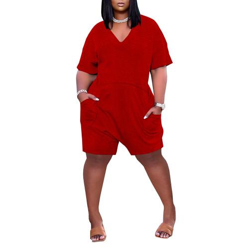 Red Loose V Neck Romper with Pockets TQK550230-3