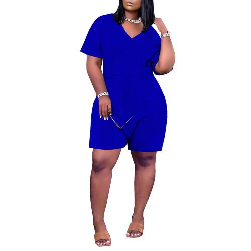 Blue Loose V Neck Romper with Pockets TQK550230-5