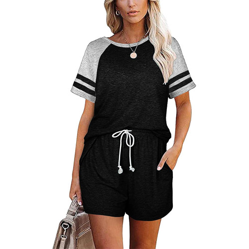 Black Stripes Raglan Sleeve Tee and Shorts Lounge Set TQK710324-2