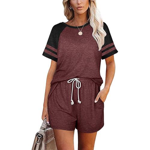 Wine Red Stripes Raglan Sleeve Tee and Shorts Lounge Set TQK710324-23