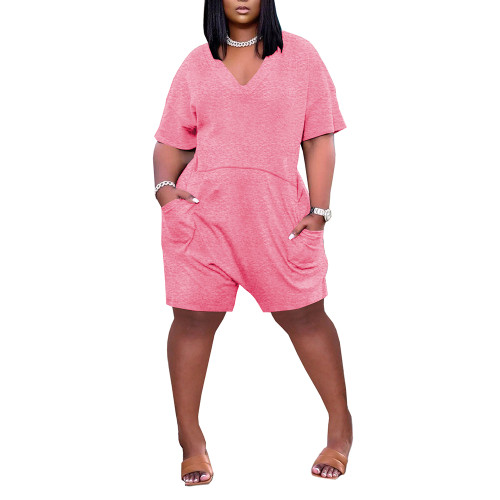 Pink Loose V Neck Romper with Pockets TQK550230-10