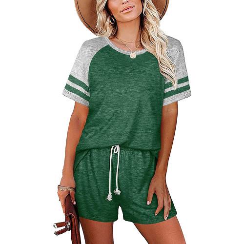 Green Stripes Raglan Sleeve Tee and Shorts Lounge Set TQK710324-9