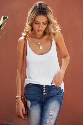 White Knitted Tank Top LC256620-1