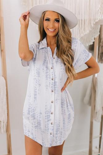 Light Blue Tie Dye Short Sleeve Button Shirt Mini Dress LC223724-4