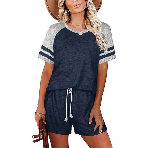 Navy Blue Stripes Raglan Sleeve Tee and Shorts Lounge Set TQK710324-34