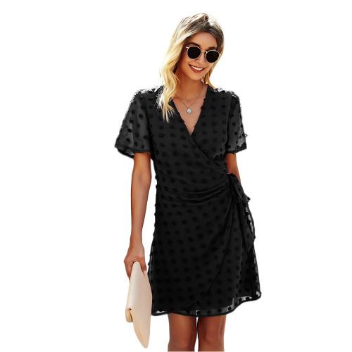 Black Swiss Dot Front Wrap V Neck Mini Dress TQK310549-2