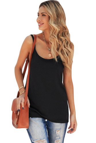 Black Knitted Tank Top LC256620-2