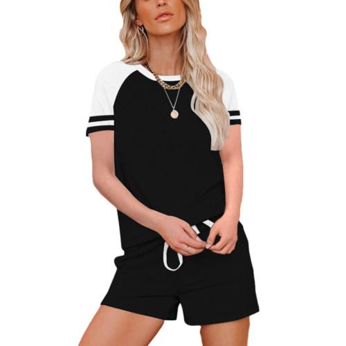 Black Raglan Sleeve Top with Shorts Lounge Set TQK710323-2