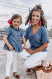 Little Girls Short Sleeves Denim Peplum Top TZ25202-5